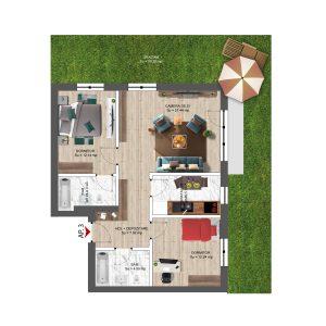 apartament 3 camere 92 mp cu grădinăConstanta