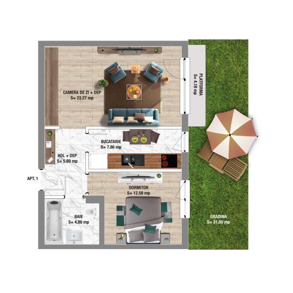 2 Room Apartment with Garden in Constanta